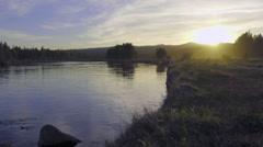 Lovely Dusk on Oregon river Stock Footage