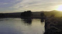 Beautiful Dusk on Oregon river Stock Footage