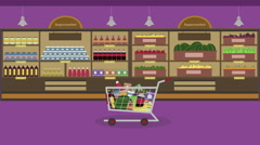 Colorful cartoon supermarket background seamless Loop. Animation of shopping car Stock Footage