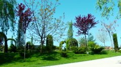 Small garden arrangement in the park - stock footage