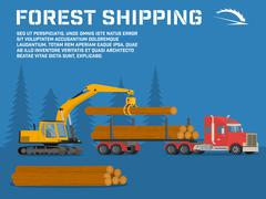 Shipping timber. Loading felled trees in the timber crane Stock Illustration