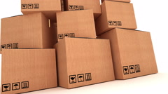 Pile of cardboard boxes Stock Footage
