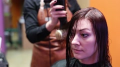 Hairdo Hair Coloring In Red Color - stock footage