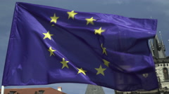 Blue Fabric And Yellow Stars European Union Flag On The Wind Waving Stock Footage