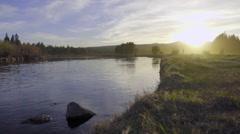 Beautfiul sunset scene over a river Stock Footage