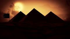 Sunset in the desert, Big sun and some clouds in evening time behind The Pyramid Stock Footage