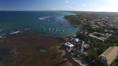 Aerial view of the Coral Reef in Praia do Forte beach in Bahia, Brazil Stock Footage