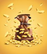 Gold coins falling down and full sack - stock illustration