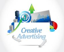 creative advertising business graph sign - stock illustration