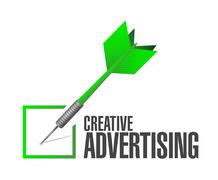 Creative advertising check dart sign Stock Illustration