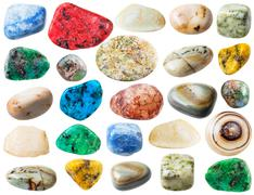 Set of agate natural mineral stones and gemstone Stock Photos
