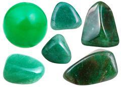 Set of green Aventurine gemstone isolated Stock Photos