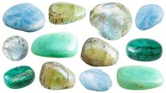 Set of various beryl mineral stones and gemstones Stock Photos