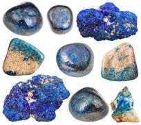 Set of azurite mineral stones and gems Stock Photos