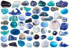 Set of blue mineral stones and gems isolated Stock Photos