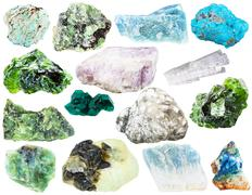 Set of different natural mineral gems and crystals Stock Photos