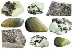 Set of various epidote natural mineral stones Stock Photos