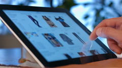 Man chooses a gift shop online. Camera Motion. - stock footage