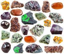 Set of various garnets natural stones and crystals Stock Photos