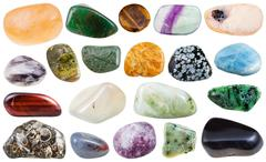 Set of various tumbled natural mineral stones Stock Photos