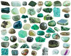 Set of green mineral stones and gemstones Stock Photos