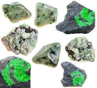 Set of various green garnets natural crystals Stock Photos