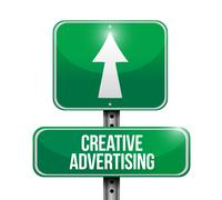 Creative advertising road sign illustration Stock Illustration