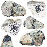 Set of ilmenite ore on mineral stones and rocks Stock Photos