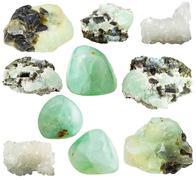 Set of various prehnite mineral gemstones Stock Photos