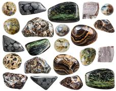 set of various natural rhyolite mineral stones - stock photo