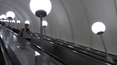 People going down by Metro or Subway Stock Footage