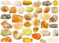 Set of yellow and orange mineral stones and gems Stock Photos