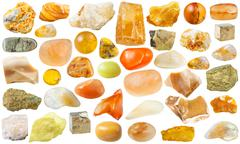 Set of yellow mineral stones and gemstones Stock Photos