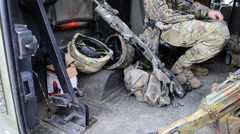 Machine gun and the automatic weapon in the jeep. Stock Footage