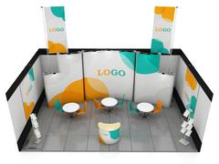 Blank creative exhibition stand design. Booth template. 3D render - stock illustration
