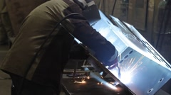 Man welding metall, panorama - stock footage