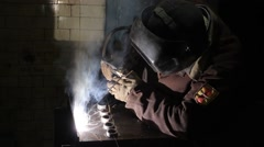 Workman welding metall - stock footage