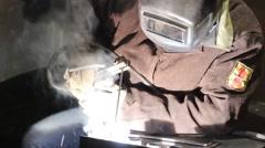 Man welding metall - stock footage
