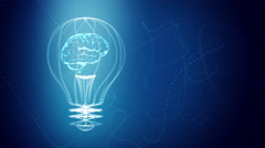 Bulb with a brain inside concept design, blue abstract background. - stock footage