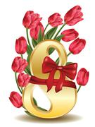 8 March Greetings Card with Tulips Stock Illustration