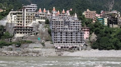 Ganges river that flows through Rishikesh , India Stock Footage