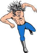 Man Big Hair Jumping Cartoon Stock Illustration
