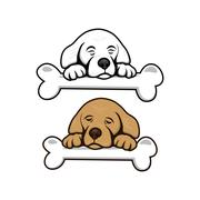 cute little puppy with bone - stock illustration