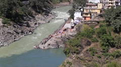 Devprayag and River Ganges . India Stock Footage