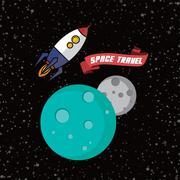 rocket ship space travel - stock illustration