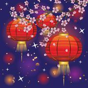 Chinese Lantern with Sakura Branch Stock Illustration