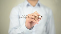 Happy Easter , Man writing on transparent screen Stock Footage