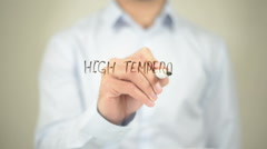 High Temperature , Man writing on transparent screen Stock Footage