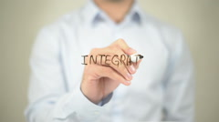 Integration , Man writing on transparent screen Stock Footage