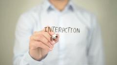 Interaction Design , Man writing on transparent screen - stock footage